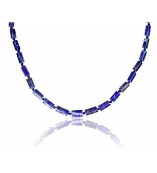 Lapis Lazuli Cylinder Necklace Inch