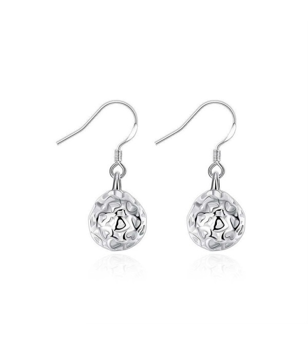 HMILYDYK Genuine 925 Sterling Silver Plated Jewelry Solid Ball Shape Hoop Earrings - C211WIT6U1V