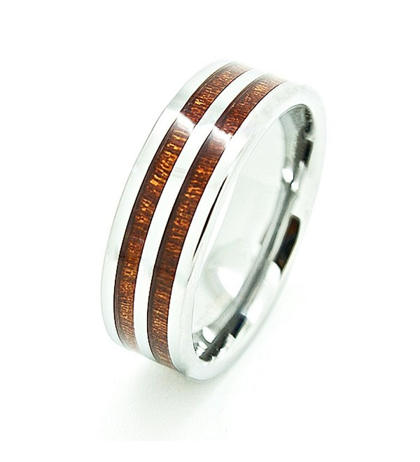 Unisex 8mm Tungsten Carbide Wedding Band with Dual Wood Grain Inlay - CV11EZ8CVGV