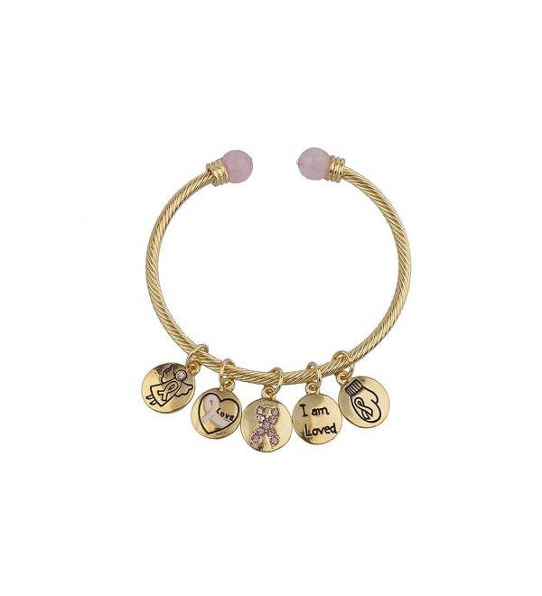 Lux Accessories I am Love Breast Cancer Awareness Slide Charm Bangle Bracelet Bracelet - CZ12HHCWV9N