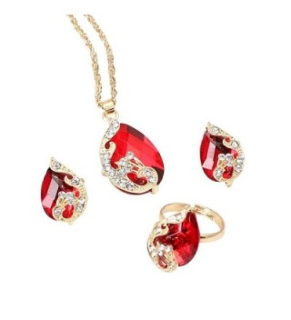 Susenstone Peacock Crystal Set Earrings+Pendant Necklace+Adjustable Rings Jewelry Sets - C417Z64AREN