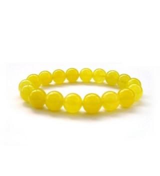 10mm Yellow Stone Beads Yoga Meditation Wrist Japa Mala Rosary Bracelet - CU117PUN7AJ