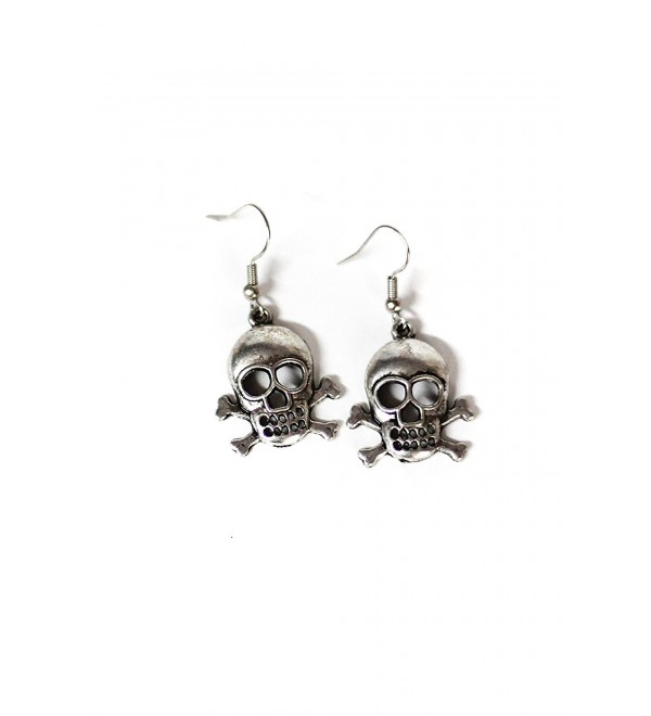 Large Skull & Crossbones Silver Toned Dangle Earrings - CU12LZHBF93