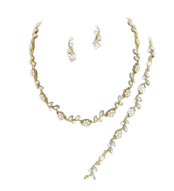 Affordable Gold Tone Color Crystal Bridesmaid 3 Bridal Necklace- Earring- Bracelet Set J2 - CT11JAM7ESB