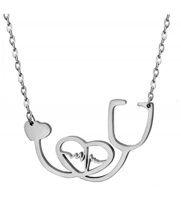 SXNK7 Stainless Steel Nurse Doctor Medical Stethoscope Chain Bijoux Collier EKG Heartbeat Love You Necklaces - CD17AZM27QE