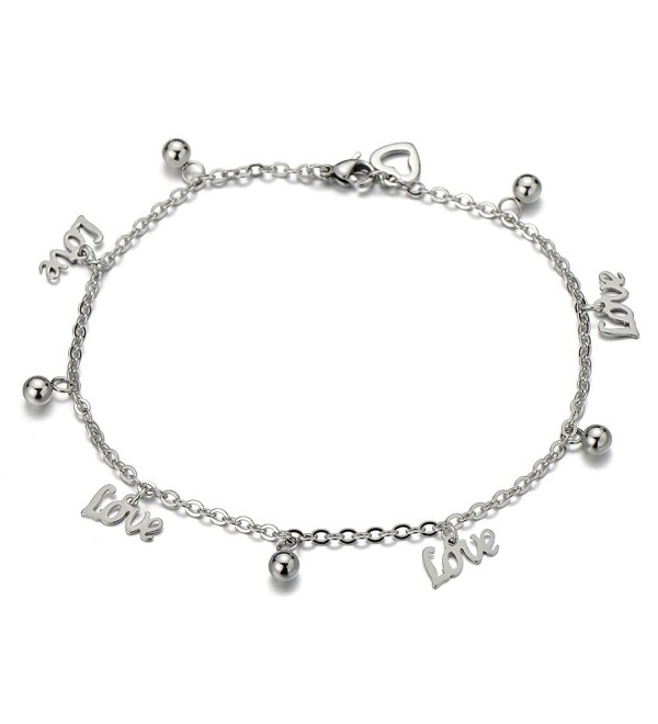 Stainless Steel Anklet Bracelet with Dangling Charms of Love Letters - CN123D83C2P