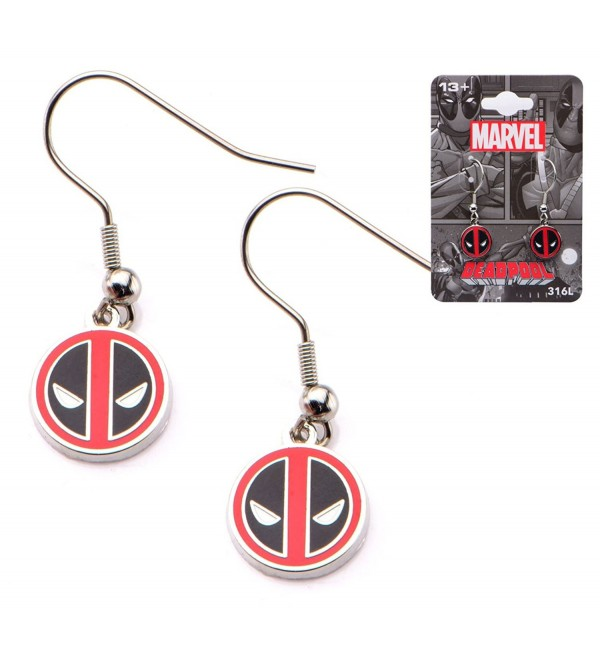 Officially Licensed Deadpool Stainless Steel Dangle Earrings - CA12BJDR0WT