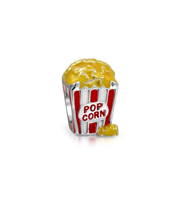 Bling Jewelry Sterling Silver Popcorn Bucket Enamel Food Charm Bead - CW12713KMK3