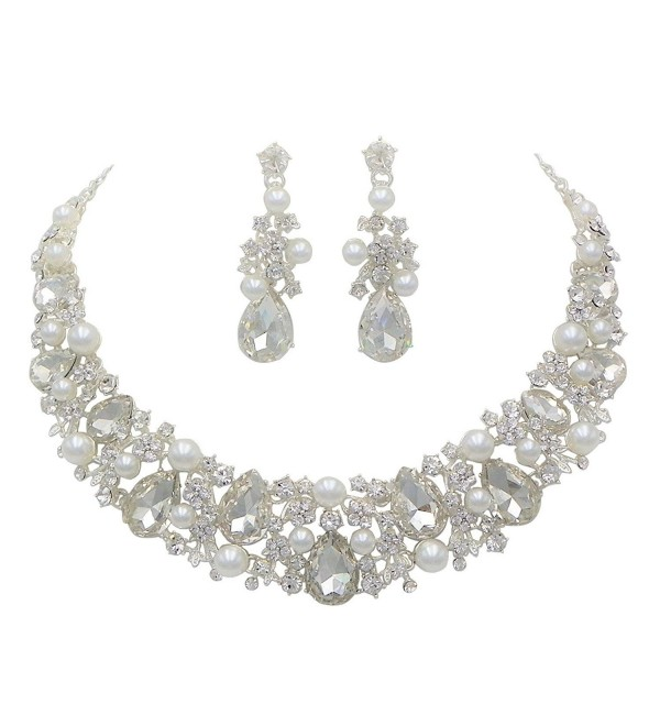 Rosemarie Collections Women's Bridal Jewelry Crystal and Faux Pearl Necklace Earrings Set - CH17XDAHK58