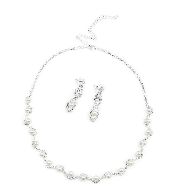BESTOYARD Cystal Rhinestone Faux Pearl Necklace Earrings Women Wedding Bridal Jewelry Set - CI1827EZ6I4