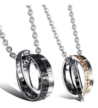 "Oidea 2 Pcs Stainless Steel Lover's Roman Numerals""LOVE ETERNAL""Pendant Necklace - C412GRVVAJB"