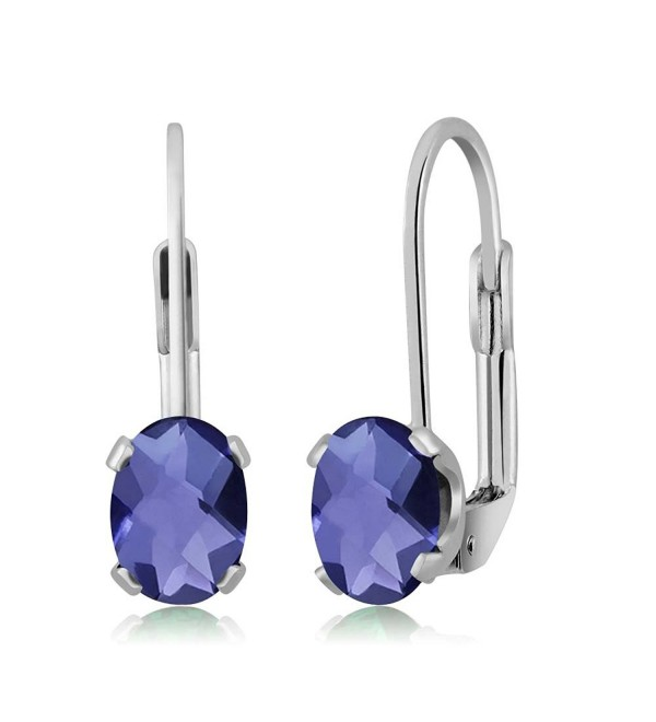 1.30 Ct Oval Blue Iolite Silver Plated 4-prong Leverback Earrings 7x5mm - CZ1179R22LT