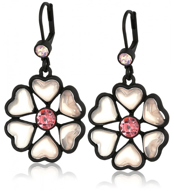 "Betsey Johnson ""Memoirs of Betsey"" Heart Petal Flower Drop Earrings - CM120G4N30Z"