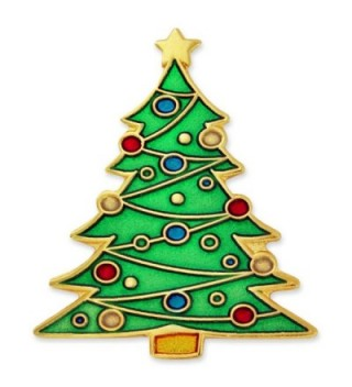 PinMart's Festive Christmas Tree Holiday Enamel Lapel Pin - C2119PEMME1