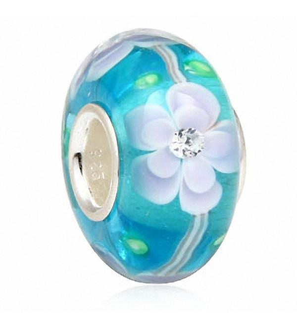SoulBeads Handmade Sterling Zirconia Bracelet - blue flower - CU12F9T9JD7