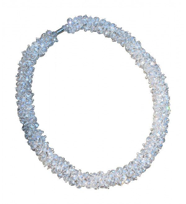 Fashion Bridal Wedding Jewelry Crystal Collar Choker Necklace with Magnetic Clasp - CT11Q3Q4YEP