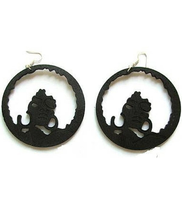 Full Afro Hoop Earring Natural Hair Earrings African American Woman Earring African Jewelry Wood Earrings - Black - CO12CMVUBFZ