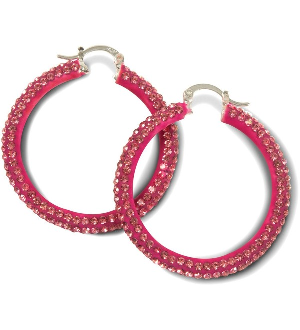 Hot Pink Crystal Hoop Earrings - CK11ZVS0KQ7