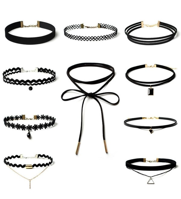 Start Women Girls Fashion Elastic Choker Classic Necklace Set Tattoo Lace Adjustable Collars - CA12NYR128P