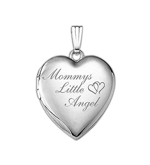 Sterling Silver Mommys Little Angel Heart Locket - 3/4 Inch X 3/4 Inch - C411JHIBBXX