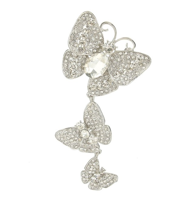 EVER FAITH Women's Austrian Crystal 3 Butterflies Insect 4.8 Inch Pendant Brooch - Clear Silver-Tone - CI11ZN8OSI1