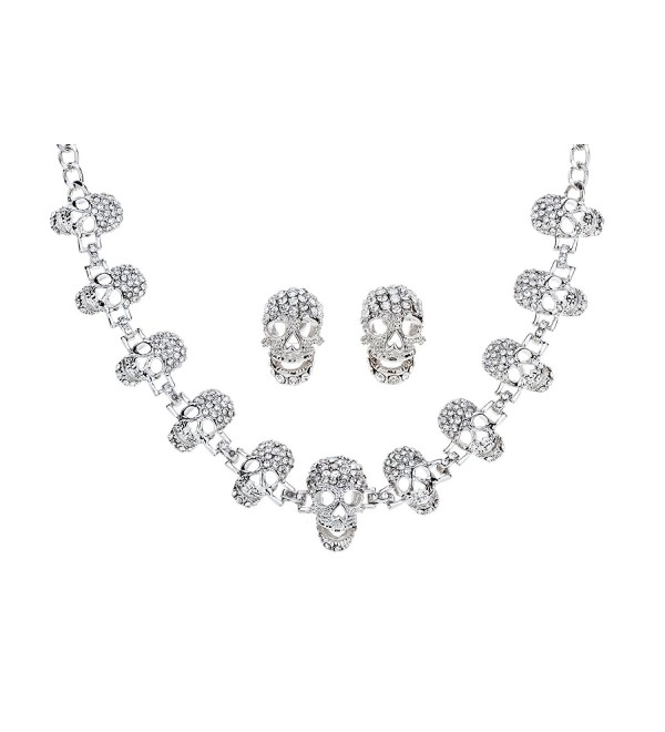 YACQ Jewelry Women's Skull Necklace Bracelet Earrings Set - Silver Necklace Earring Set - CX1820EMC2C