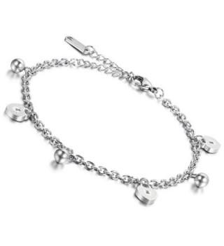 Flongo Ladies Girls Simple Stainless Steel Heart Lock Link Anklet Wrist Bracelet- 9.4 inch - silver - CS128E7TTAD