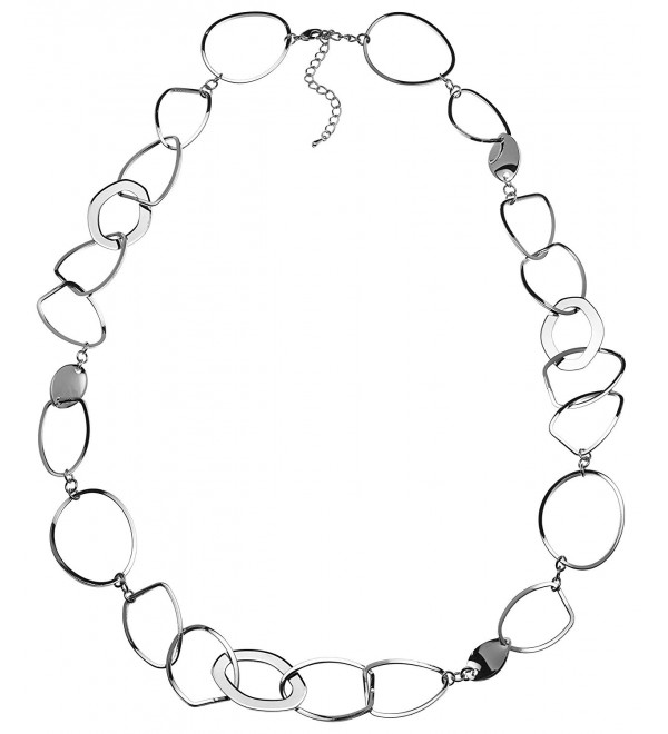 Sparkling Long Link Necklace - Silver Plated - CD11ATF76YZ