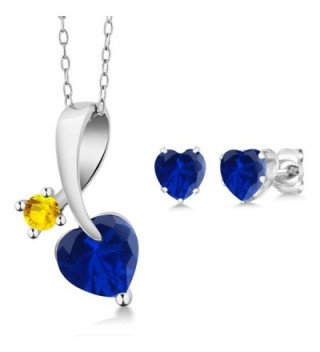 2.45 Ct Blue Simulated Sapphire 925 Sterling Silver Pendant Earrings Set - CX126XSFZC7