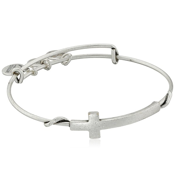 "Alex and Ani Spiritual Armour Cross Expandable Wire Bangle Bracelet- 7.75"" - Rafaelian Silver Finish - CB115VPP7J5"