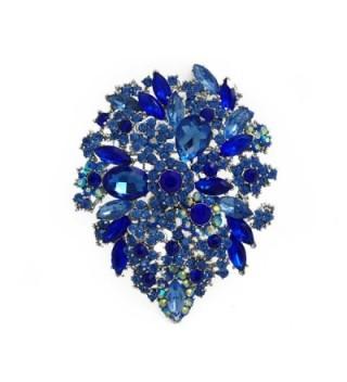 TTjewelry Classic Style Crystal Rhinestone Droplets Flower Art Nouveau Brooch Pins B10390500 - Blue - CQ12C7M68VP