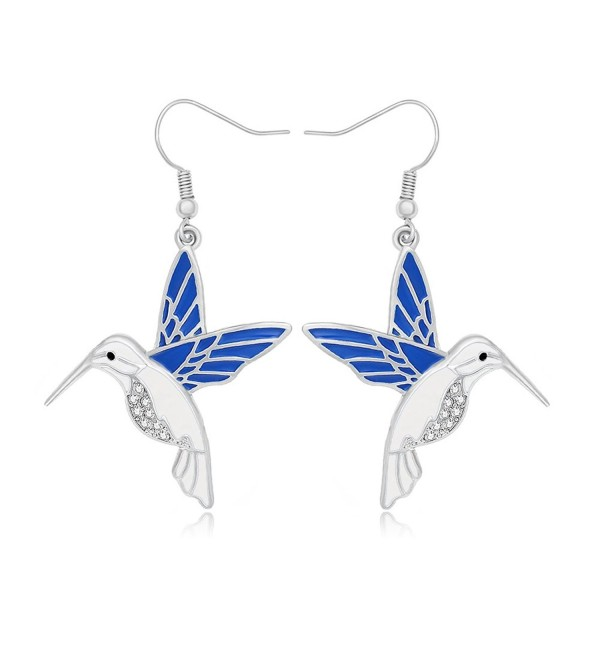 NOUMANDA Silver Rhinestone Hummingbird Dangle Earrings Charm Animal Jewelry for Women - C5185UD8ZQ9