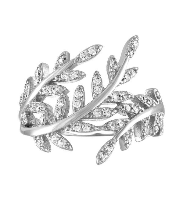 Sterling Silver CZ Leaf Vine Statement Ring - CF12IK4AL2F