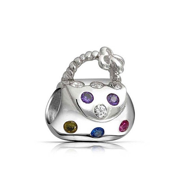 Bling Jewelry Multicolored CZ Clutch Handbag Charm Bead .925 Sterling Silver - C4115QBIA2T