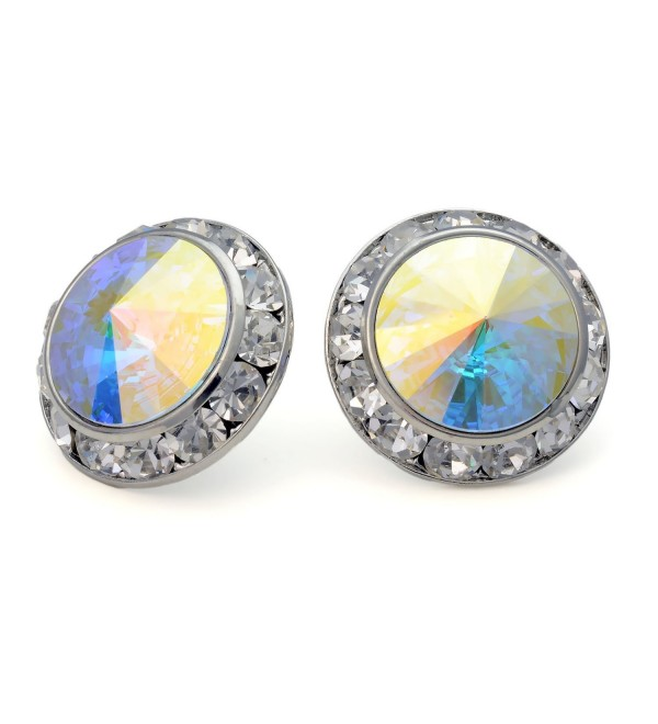 PammyJ Aurora Borealis 20mm Round Crystal Framed Post Earrings - CG113W9MS3F
