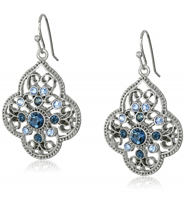 1928 Jewelry Silver-Tone Dark and Light Blue Crystal Filigree Drop Earrings - C211O2TIX5V