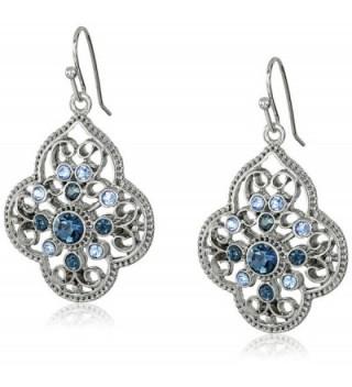 1928 Jewelry Silver-Tone Dark and Light Blue Crystal Filigree Drop Earrings - C211O2TIX5V