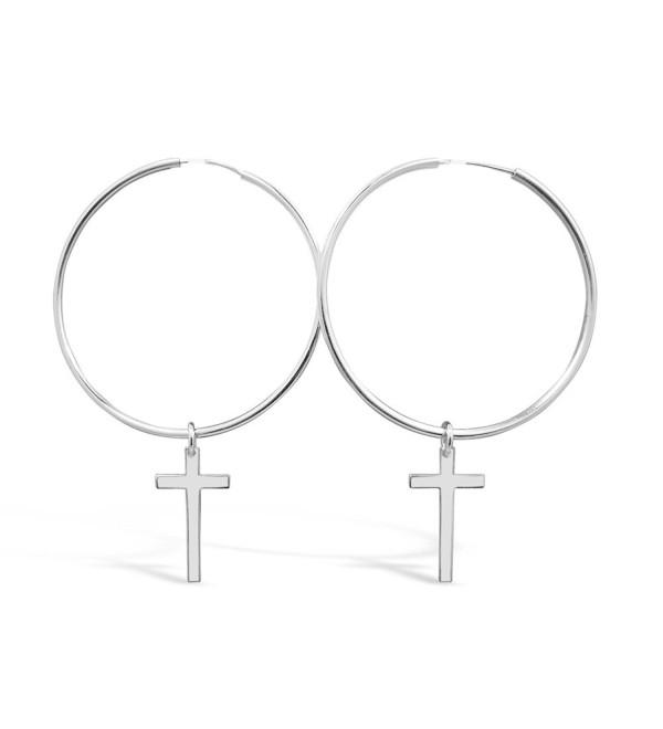 Sterling Silver Cross Hoop Earrings 100% Hypoallergenic and Nickel Free - CO17YCI36QI