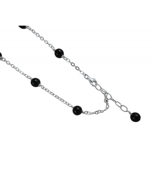 6mm Black Onyx with .925 Sterling Silver Anklet- Bracelet. 7-8-9-10-11-12-13 Inches - CD121JNXFG9