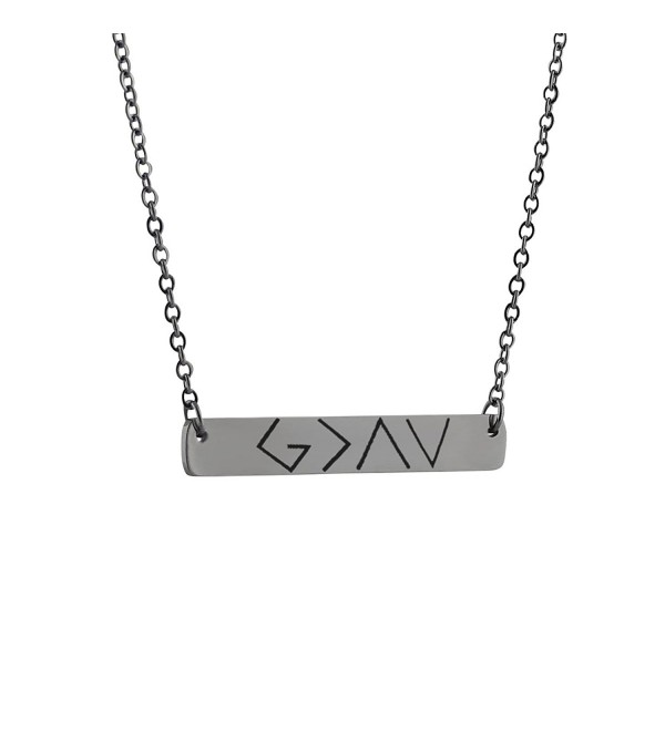 God is Greater Than the Highs and Lows - Stainless Steel Horizontal Bar Necklace with Christian Symbols - CJ187IDZ8Y2