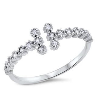 Clear CZ Open Bar Gap Ring New .925 Sterling Silver Cross Band Sizes 4-10 - CU12JPCL11R