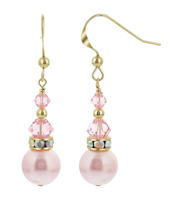 Gem Avenue Gold filled Swarovski Elements Pink Crystal and Pearl french wire Drop Earrings - CP186DT6KKT