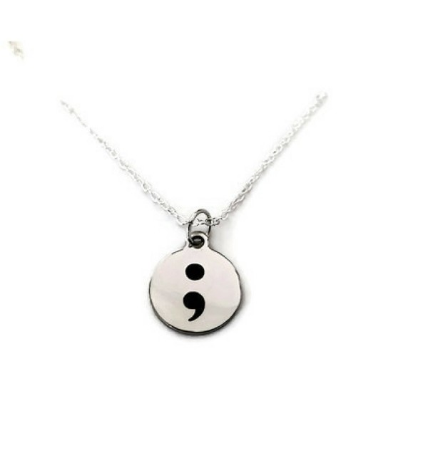 "Semi Colon Necklace ""My Story Isn't Over Yet"" laser etched semi-colon jewelry- suicide prevention - CT12MYCZADO"