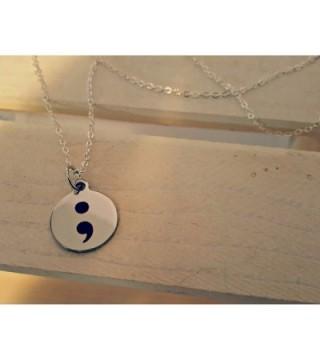 Necklace semi colon jewelry suicide prevention in Women's Pendants