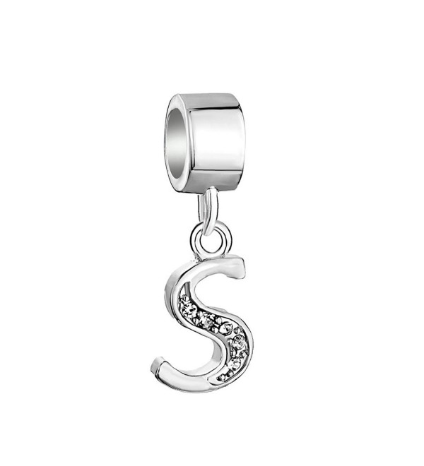QueenCharms 925 Sterling Silver Letter Charms Dangle with Crystals Bead for Bracelet Letter S - CF12O1YDV2K