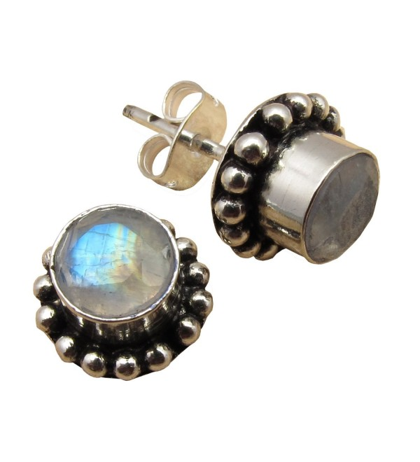 925 Silver Plated RAINBOW MOONSTONE ETHNIC Stud Earrings ! Indian Gemstone Jewelry - C712O5W9ARM