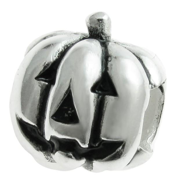 925 Sterling Silver Jack O'Lantern Halloween Pumpkin Bead For European Charm Bracelet - C711ZV127MT