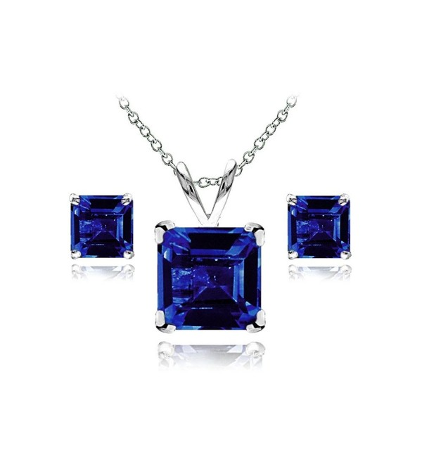 Sterling Sapphire Solitaire Necklace Earrings - Created Blue Sapphire - Sterling Silver - C312N3B3Q69