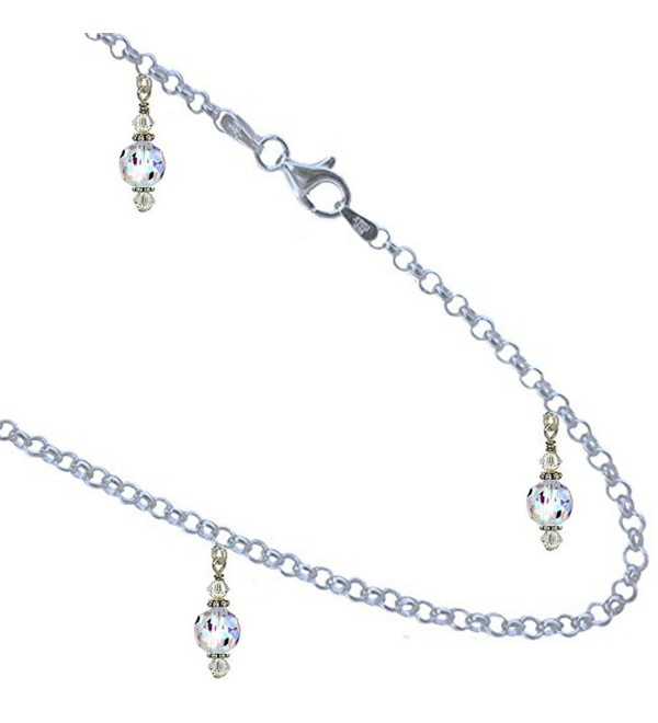 Faceted Round Clear AB Crystal Anklet- Bracelet. 2.5mm Link 925 Sterling Silver Chain. 6 to 13 Inches - CQ12O46U04C