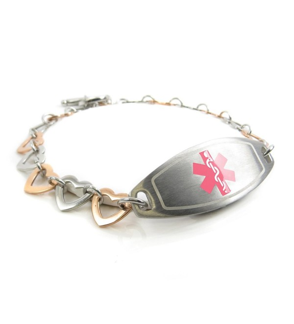 MyIDDr - Pre-Engraved & Customized Bee Sting Allergy Ladies Medical Bracelet- Steel & Rose Hearts - C411KF75NW5